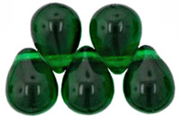 Czech Glass Beads 9mm Teardrop Emerald Green (50)