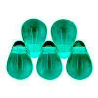 Czech Glass Beads 9mm Teardrop Teal (50)