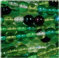 Czech Glass Druk 4mm Round Evergreen Mix (100)