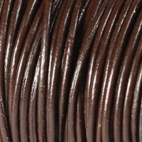 Genuine Leather Cord - 3mm - Round- Brown