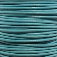 Premium Genuine Leather Cord - 2mm - Round- Turquoise