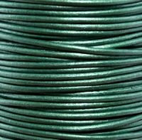 Genuine Leather Cord - 2mm - Round- Metallic Ocean Green