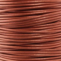 Genuine Leather Cord - 2mm - Round- Metallic Copper