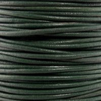 Genuine Leather Cord - 2mm - Round- Dark Green