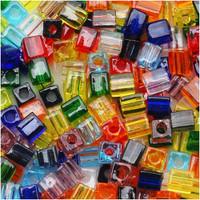 Miyuki 4mm Glass Cube Beads Transparent Rainbow Mix (20 Grams)