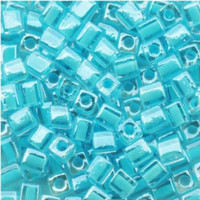 Miyuki 4mm Glass Cube Beads Color-Lined Ice Blue (#220) (20 grams)