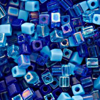 Miyuki 4mm Glass Cube Beads Blue Tones Mix (20 Grams)