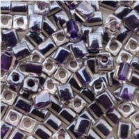 Miyuki 4mm Glass Cube Beads Dk Purple Lined Crystal (#223) (20 grams)