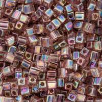 Miyuki 4mm Glass Cube Beads Transparent Lilac AB (#256) (20 grams)