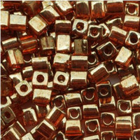 Miyuki 4mm Glass Cube Beads Gold Rose Luster (#310) (20 grams)