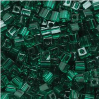 Miyuki 4mm Glass Cube Beads Transparent Emerald Green (#147) (20 grams)
