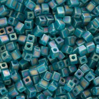 Miyuki 4mm Glass Cube Beads Transparent Frosted Teal AB (#2405FR) (20 grams)
