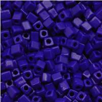 Miyuki 4mm Glass Cube Beads Royal Blue Opaque (#414) (20 grams)