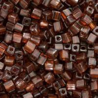Miyuki 4mm Glass Cube Beads Transparent Dark Brown (#134) (20 grams)