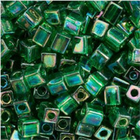 Miyuki 4mm Glass Cube Beads Emerald Green AB (#179) (20 grams)