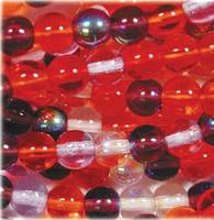 Czech Glass Druk 6mm Round Melonberry Mix