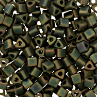 Size 8 Toho Triangle Beads, Frosted Metallic Iris Green Brown (1 ounce)