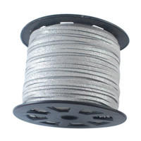 Faux Leather Suede Beading Cord, Metallic Silver, (10 feet)