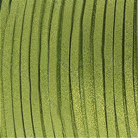 Faux Leather Suede Beading Cord, Metallic Peridot Green