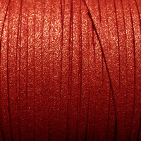 Faux Leather Suede Beading Cord, Metallic Brick Red (10 feet)