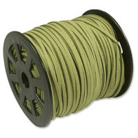 Faux Leather Suede Beading Cord, Olive (10 ft)