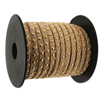 Faux Leather Suede Micro Fiber Cord with Gold Studs (5 Feet) Tan
