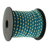Faux Leather Suede Micro Fiber Cord with Gold Studs (10 Feet) Teal