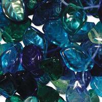 Czech Glass 7x12mm Leaf Bead Mix, Lagoon Mix (50)