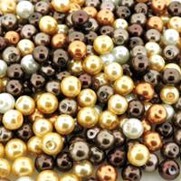 UnCommon Artistry Glass Pearl Mix 200pcs 6mm - Mocha Latte Mix