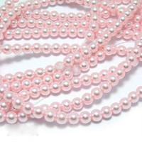 Glass Pearl Beads 100pcs 6mm - Baby Pink