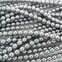 Glass Pearl Beads 100pcs 6mm - Silver