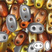 Preciosa Twin Beads, Czech Glass 2-Hole Seed Beads 5.5x3.5mm, Modern Metal Mix, 22 Grams,