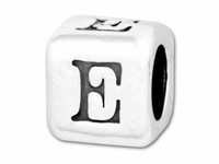 "Sterling Silver Alphabet 4.5mm Rounded Edge Cube Bead Letter ""E"""