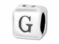 """Sterling Silver Alphabet 4.5mm Rounded Edge Cube Bead Letter """"G"""""""