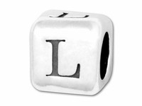 """Sterling Silver Alphabet 4.5mm Rounded Edge Cube Bead Letter """"L"""""""
