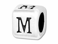 """Sterling Silver Alphabet 4.5mm Rounded Edge Cube Bead Letter """"M"""""""