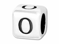 """Sterling Silver Alphabet 4.5mm Rounded Edge Cube Bead Letter """"O"""""""