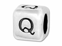 """Sterling Silver Alphabet 4.5mm Rounded Edge Cube Bead Letter """"Q"""""""