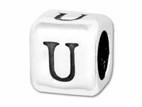 "Sterling Silver Alphabet 4.5mm Rounded Edge Cube Bead Letter ""U"""