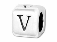 "Sterling Silver Alphabet 4.5mm Rounded Edge Cube Bead Letter ""V"""