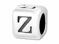 """Sterling Silver Alphabet 4.5mm Rounded Edge Cube Bead Letter """"Z"""""""