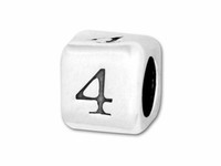 "Sterling Silver Number 4.5mm Rounded Edge Cube Bead Number ""4"""