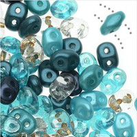 SuperDuo, Czech Glass 2-Hole Seed Beads 5.5x3.5mm, Caribbean Seas Mix, 22 Grams,