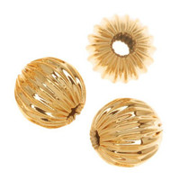22kt Gold Plated Corrugated Round Beads 6mm (50)