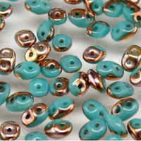 SuperDuo, Czech Glass 2-Hole Seed Beads 5.5x3.5mm, Turquoise Green Capri Gold, 22 Grams