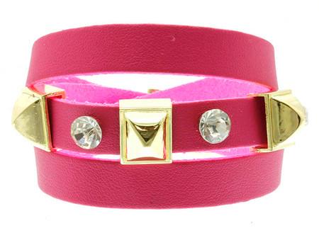 Belt Buckle Stud Leather Bracelet - Pink