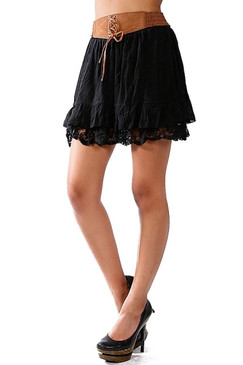 Belted Ruffle Skirt With Embroidered Trim Lining - Black