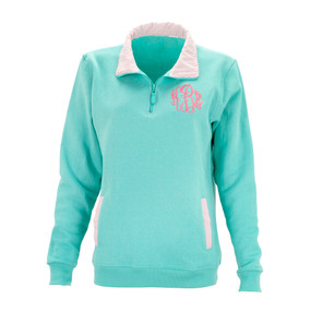 Mint with Pink Stripe Pullover