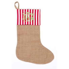 Stripe BurlapTrim Stocking