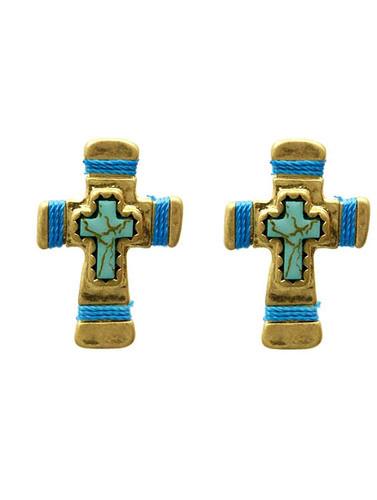 Blue Cross Earrings